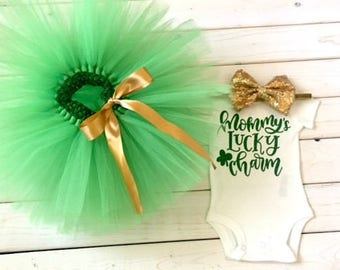 St Patrick's Day tutu outfit, green and gold St Patrick's Day outfit, girl outfit, baby girl outfit, 1st St. Patrick's day, Shamrock outfit