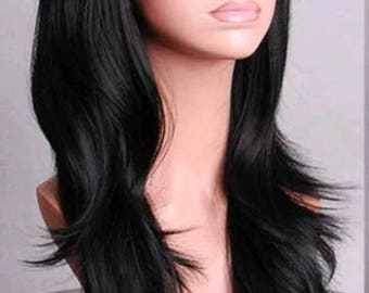 Customizable - JET BLACK -  long straight wavy Wig w/ bangs - scene emo cosplay anime punk lolita mermaid hair styles real Wig fast shipping