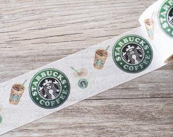 Starbucks washi tape,Starbucks Logo & Drinks Washi Tape,TeaTime Washi Tape, Coffee Washi Tape, tarbucks Paper Tape