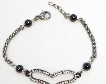 Bracelet with heart, steel bracelet, steel jewellery, hematite jewelry, bracelets for her, hematite bracelets, made in Italy