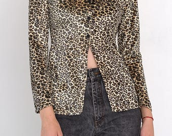 VINTAGE Brown Shiny Leopard Tiger Long Sleeve Retro Shirt