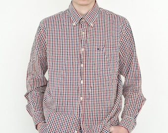 VINTAGE Red Mixed Checked Long Sleeve Button Downs Retro Shirt