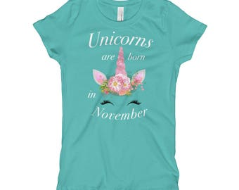 Girls Unicorns are Born in November Birthday T Shirt