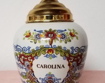 Original Delft Polychrome Royal Goedewaagen Tobacco Jar Carolina