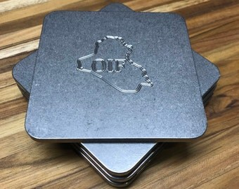 Heavy Ass Operation Iraqi Freedom Engraved Stainless Steel Coaster Set of 4, Great Gift for Military Veterans