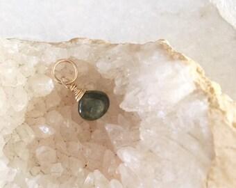Green tourmaline dangle, 18mm tourmaline,green dangle, tourmaline dangle, tourmaline add on,October birthstone, gold fill tourmaline drop