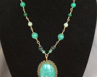 Eilat Pendant with Wire Wrapped Beaded Necklace