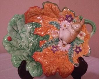 Fitz and Floyd Classics Woodland Spring Sleeping Bunny Rabbit Leaf Canape Plate