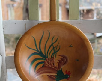 Munising Hand Painted Rooster Bowl with Handle