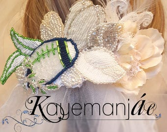 12's - Seahawks Wedding - Sports Wedding Idea - Seahawks for Women - Crystal Bridal Hairpiece - Bridal Hairpiece with Pearls