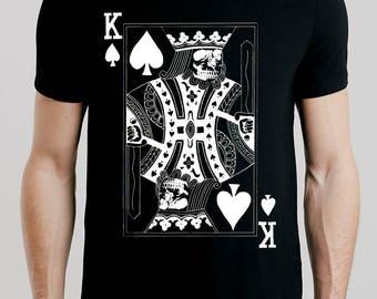 T-SHIRT KING SKULL / tshirt poker / tee casino / tshirts texas hold'em / tees poker hand / tshirt omaha / all in poker / clothing