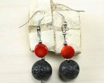 Natural Black Lava Stone Gemstone 12mm and Red Coral. Lava stone oil Diffuser.  Handmade Dangle Earrings. Nickel free Alloy