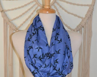 Good Luck Sparrows - Sparrow Print Blue Infinity Loop Cowl Scarf, Good Luck Sparrows, Women's Scarves, Boho Scarf, Chunky Wide Cowl Scarf
