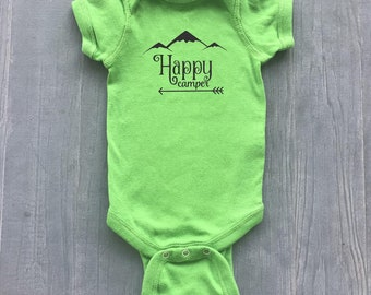 Happy Camper Onesie - 7 Colors - Infant Body Suit - Happy Camper - Baby Clothes - Camping - Hiking - Get Outside - Camper Baby
