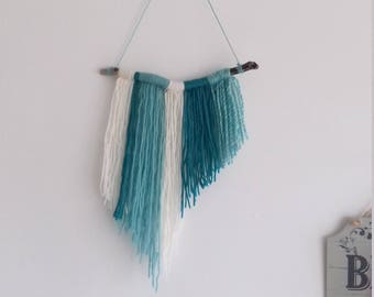 Turquoise and Cream fringe wall hanging