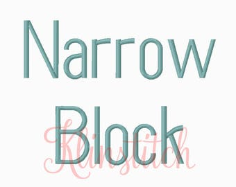 50% Sale!! Narrow Block Embroidery Fonts 3 Sizes Fonts BX Fonts Embroidery Designs PES Fonts Alphabets - Instant Download
