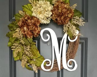 Brown Hydrangea Wreath,Hydrangea Wreath,Year Round Wreath,Front Door Wreath,Spring Wreath,Everyday Wreath,Grapevine Wreath,Farmhouse Wreath
