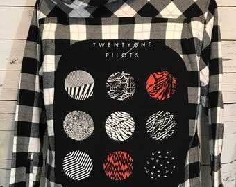 Twenty One Pilots Blurryface Sherpa Hoodie Flannel - Custom Made- One of a Kind - TOP - Upcycled