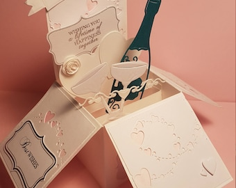 Handcrafted Cream Wedding Box Card Mr & Mrs Champagne hearts