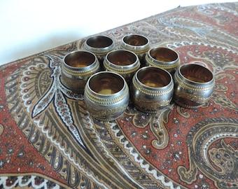 Engraved Two Tone Metal Napkin Rings Set