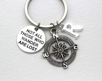 Personalised Not All Those Who Wander Are Lost, Travel Keychain, Compass Keyring