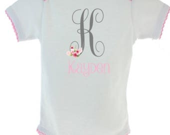 Personalized girls onesie with letter and name