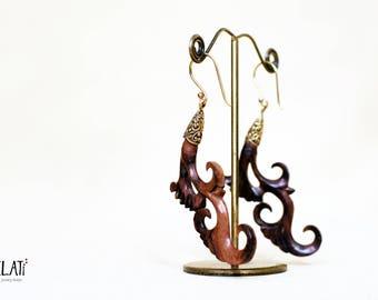 Large tribal wooden earrings with brass, brass earrings wood