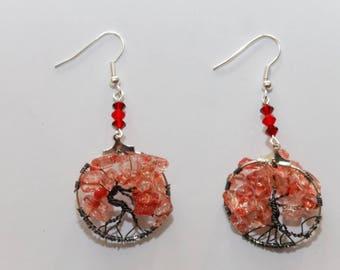 Earrings tree of life red and black nickel slide. 3 cm