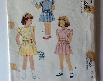 McCall 6956 Girls Dress Size 2 Vintage 1940's