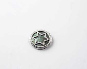 Silver star Magen David necklace with mother-of-pearl stone