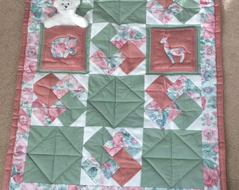 Cot quilt, baby blanket, play mat, buggy blanket, childs quilt, pram blanket