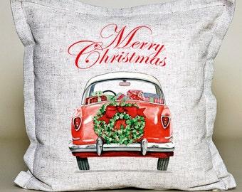 Merry Christmas Pillow | Christmas Red Car Pillow | Holiday Pillow | Christmas Gift | Rustic Decor | Holiday Decor | Christmas Decor| linen