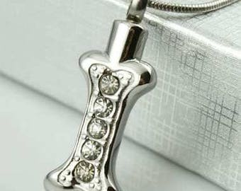 Dog Bone With 5 CZs Cremation Pendant (Chain Sold Separately)