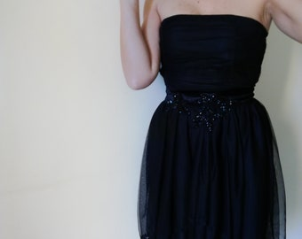 Woman DRESS 90s NAF NAF Mini-Dress Strapless Dress Black Asymmetric Tulle Skirt sz. EU34