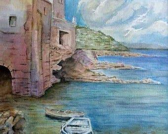 No fishing - 16 x 20 matted - Original watercolor painting - boat - fishing
