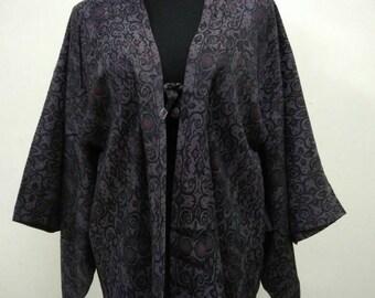 Japanese haori kimono gray floral kimono jacket /kimono cardigan/kimono robe/#051