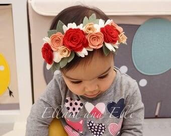 Felt Flower Crown, Rose Flower Crown, One Size Fits All, Flower Girl Crown, Birthday Girl Flower Crown, Baby Flower Headband, Toddler Crown