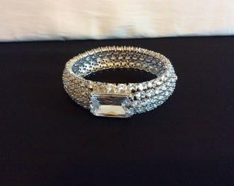 Pave Crystal Hinged Bangle Bracelet