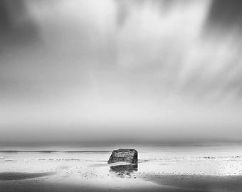 "Black & White Photographic Art Print, Minimalist Fine Art Photography, ""Omaha #1"", A Rock on Omaha beach in Normandy, Wall Art"