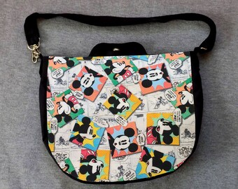 Mickey Mouse News Cross Body Purse Messenger Bag