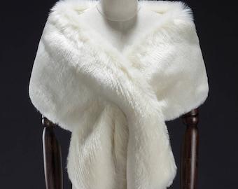 White Faux Fur Wrap, Bridal Fur Stole, Fur Cape, Wedding stole fur, Faux Fur Shrug, Faux Fur shawl