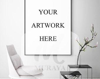 Living room frame mockup, Thin black frame, Styled Stock Photograpy, Clean Design, PSD Mockup, Digital Item, Natural Lighting