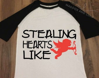 Stealing Hearts Like // Cupid is my homeboy // Toddler & Youth Baseball Tee