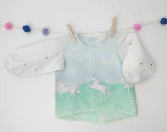 Baby shirt, girl shirt, baby blouse, long sleeve, girlshirt printed unicorns.