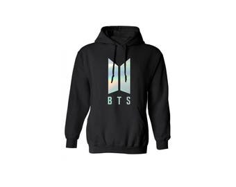 BTS Hoodie Holographic Bangtan Boys Logo K-Pop Long Sleeve Korean Hooded Sweater Bright Holographic Sweatshirt