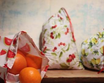 Bag with loose patterns fruit gift zero waste set of 3