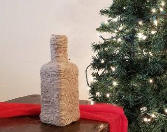 Raw Hemp-Wrapped Angular Vase