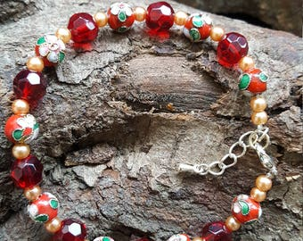 Red Cloisonne and Faceted Bead Bracelet