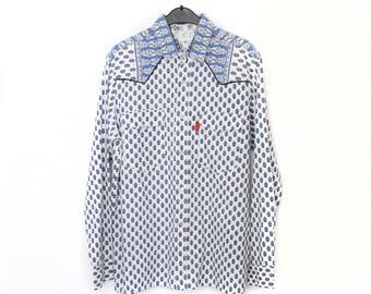 French Cowboy western shirt - men's pearl snap button up shirt - vintage white blue pattern print - mens long sleeve provencal blouse size M