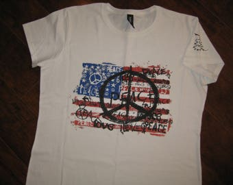 American Flag / Peace Sign T-shirt,| flag | love | America | patriotic |  fun | t-shirt | tee